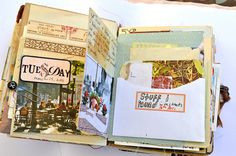 Books for memorabila - link shows all pages of this altered art book/journal!