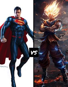 Superman vs goku Comment who you think would win and why. (All rights go to the original owners)