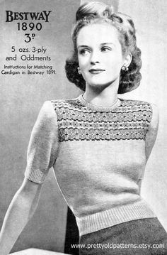 "Beautiful 1940s Jumper with Fair Isle Yoke 34"" Bust Bestway 1890 Vintage Knitting Pattern Download"