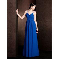 Sheath/Column Spaghetti Straps Floor-length Chiffon Bridesmaid Dress (2111) - USD $ 99.99