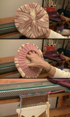 """How to make this """"Tam"""" (Beret) using your Ultimate Sweater Machine – Part 1 of – Hand Knitting Sewing Machine Projects, Knitting Machine Patterns, Loom Knitting Projects, Knitting Designs, Sewing Patterns, Knitting Tutorials, Knitting Ideas, Stitch Patterns, Knitting Socks"""