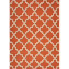 Handmade Flat Weave Geometric Pattern Red/ Orange Indoor Rug (5' x 8') | Overstock™ Shopping - Great Deals on JRCPL 5x8 - 6x9 Rugs