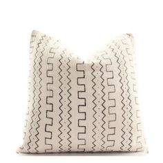African White Mudcloth Boho Pillow Cover