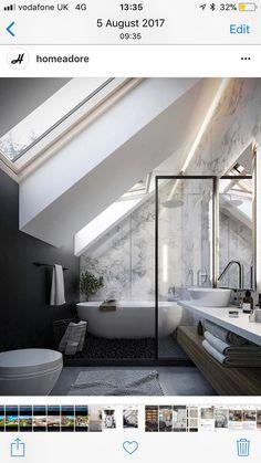 Small Bathroom Renovations 151433606209311507 - Source by eoualidi Sloped Ceiling Bathroom, Small Attic Bathroom, Loft Bathroom, Bathroom Design Small, Bedroom Loft, Simple Bathroom, Bathroom Interior Design, Loft Ensuite, Bathroom Lighting