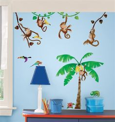 How fun! Monkey Business Peel & Stick wall decals
