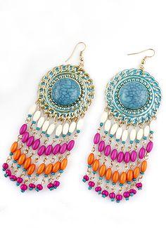 Blue Gemstone Bead Tassel Dangle Earrings <3