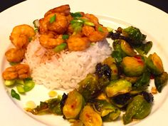 Yakitori Style Shrimp on Jasmine Rice & Roasted Brussels Sprouts with Sweet Chili Sauce