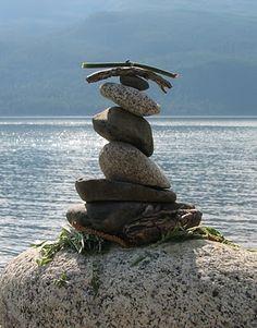 Earth Day rock art on Slocan Lake