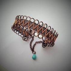 Wire wrapped hand woven copper bangle with turquoise drop, handmade copper bracelet, turquoise bracelet Wire Wrapped Bracelet, Copper Bracelet, Copper Jewelry, Beaded Jewelry, Wire Bracelets, Wire Earrings, Copper Wire, Turquoise Bracelet, Bangles