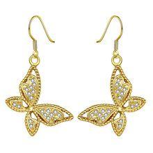 24 K žluté zlato / růžové zlato / bílá bílá Barva náušnice pro ženy, Butterfly tvarované CZ Kamenná náušnice KZCE055 (Čína)