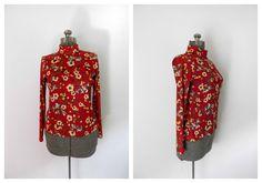 1970s Burgundy Red Floral Turtleneck by rileybella123 on Etsy, $20.00
