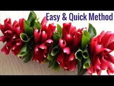 Learn to make rose petals garland. This method of garland making is very easy and beginners can learn to make garland with rose petals with this technique. Flower Garland Wedding, Paper Flower Garlands, Rose Garland, Leaf Garland, Diy Garland, Floral Garland, Flower Decorations, Paper Flowers, Wedding Flowers