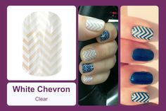 This classic design features a white chevron pattern with a clear background. #bevsjamminnails https://bkimball.jamberry.com/us/en/shop/products/white-chevron#.Vxe4OvkrJQI