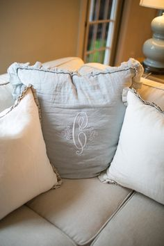monogrammed pillow | Courtney Dox