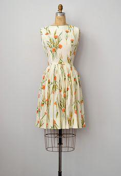 vintage 1960s floral orange shell top dress
