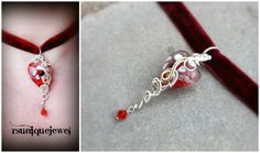 Wire wrapped red glass pendant with burgundy by rsuniquejewel
