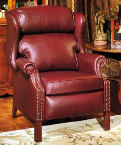 Super Comfy Leather Chippendale Red Recliner