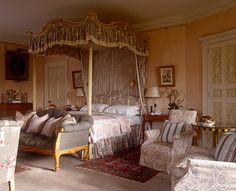 Room of the Day ~ Alnwick Castle ~ The Pink Room - Robert Kime. Four-poster believed to be an early Robert Adam, upholstered in Kime's Jardinieres Cotton. 10.1.2013