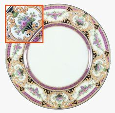 """""""Cockington"""" china pattern with pink rim, colorful bouquets, & yellow gold damask accents from Wedgwood."""