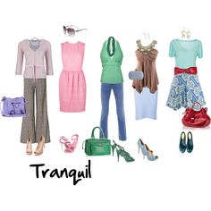 """""""Tranquil"""" by imogenl on Polyvore """"Light, Moderate Chroma, Neutral-Cool. For a very fair-skinned person. (Warmish equivalent is Exquisite.)"""" — xaraxia"""