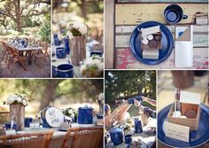 Campfire wedding inspiration with blue porcelain covered cast iron dinnerware