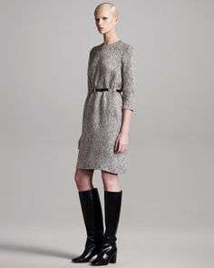 Tweed Shift Dress & Thin Leather Belt by Chloe at Bergdorf Goodman.