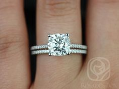 Marcelle 7.5mm Platinum Cushion FB Moissanite and Diamond Cathedral Wedding Set (Other metals and stone options available)