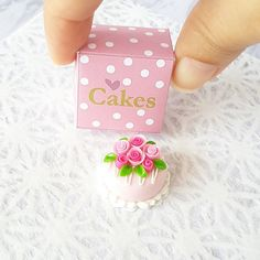 Pink Round Rose Cake in Box Dollhouse Miniature Food Supply Bakery Barbie Doll #AllThaiHandmade