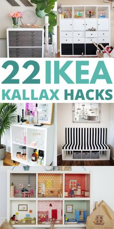 IKEA KALLAX doors DIY hacks - Are you looking for some cheap ways to organize your home? I have found some great IKEA Kallax hacks you can use to transform the look of your furniture and make it more functional and beautiful looking. Ikea Kallax Hack, Ikea Hack Storage, Bedroom Hacks, Ikea Bedroom, Home Decor Hacks, Diy Home Decor, Ikea Sinks, Ikea Decor, Diy Door