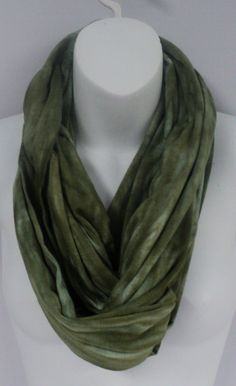 Moss green colour tie dye infinity scarf in by qualicumclothworks