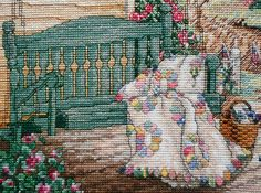 Exquisite Finished Completed Counted Cross Stitch Picture - VICTORY GARDEN House…