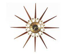 "Starburst clock, mid century modern, Elgin, Atomic, Eames era, wall clock, 31"", original hands and mechanism, runs quietly, a vintage beauty"
