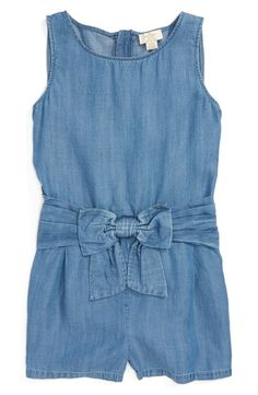 A signature Kate Spade bow at the pleated waist adds to the playful appeal of this sleeveless chambray romper that's summertime-ready.