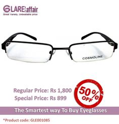 COSMOLINE HM4143 Grey Gradient EYEGLASSES  http://www.glareaffair.com/eyeglasses/cosmoline-hm4143-grey-gradient-eyeglasses.html  Brand : COSMOLINE  Regular Price: Rs1,800 Special Price: Rs899  Discount : Rs901 (50%)