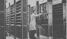 The direct commercial descendant of the Cambridge EDSAC was a computer named LEO (Lyons Electronic Office) shown here in about 1953. LEO pioneered the use of computers for business data processing.