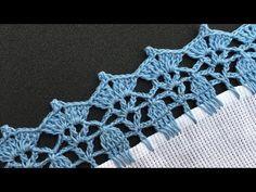 ORILLA TEJIDA FACIL PARA INICIANTES SUPER FACIL || COMO TEJER UNA PUNTILLA A CROCHET 💥NUMERO 67 - YouTube Crochet Boarders, Crochet Edging Patterns, Crochet Lace Edging, Crochet Designs, Crochet Stitches, Knit Crochet, Denim Rug, Crochet Curtains, Finger Knitting