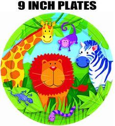 "Jungle Animals Birthday Party Plates 9"""