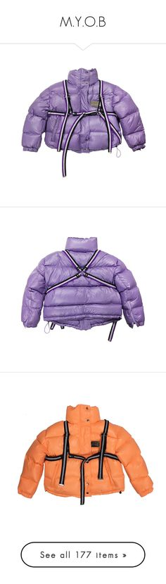 """M.Y.O.B"" by a4styled ❤ liked on Polyvore featuring outerwear, jackets, jacket's, purple jacket, down filled jacket, down jacket, purple down jacket, short down jacket, tops and blue top"