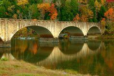 Historic stone bridge over the Cumberland River near Cumberland Falls, KY