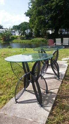 Pair of iron and glass tables in Pompano Beach, FL (sells for $85)