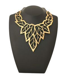 High fashion jewelry / jewellery - Geometric leaf gold statement necklace - Laser cut leather with a gold foil finish