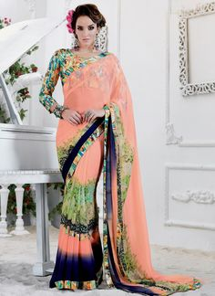 An exclusive store for online shopping of sarees. Order this georgette multi colour printed saree for casual and party.