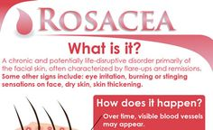 Rosacea is a relatively common, chronic skin disorder with symptoms being patchy flushing (redness) and inflammation, particularly on the cheeks, nose, forehead, and chin as well as small visible blood vessels on the face, bumps or pimples on the face and watery or irritated eyes For Details about a Clinical Study Center(AMR) trial to help treat Rosacea; http://clinicalstudycenter.com/rosacea-study/