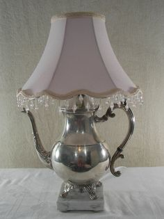 Vintage Silver Plated Teapot Lamp Repurposed by PinkPicketCottage, $80.00