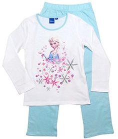 Frozen Pyjama Die Eiskönigin 2016 Kollektion 98 104 110 116 122 128 Schlafanzug Völlig Unverfroren Lang Anna und Elsa Top Neu Weiß-Blau