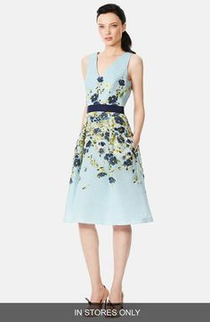 Carolina Herrera Floral Jacquard Fit & Flare Dress (In Store Only) available at #Nordstrom