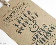 Vintage Tag Wedding Invitation - Gift Tag Luggage Tag Eco wedding stationery