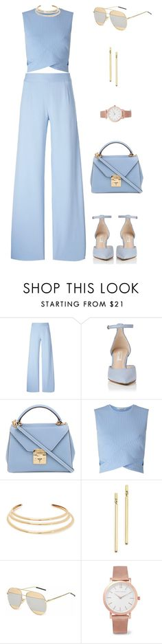 """Blue Mood - Work Wear"" by crystal-castleberry ❤ liked on Polyvore featuring Christopher Kane, Mark Cross, Miss Selfridge, Kenneth Jay Lane, Bloomingdale's and Larsson & Jennings"