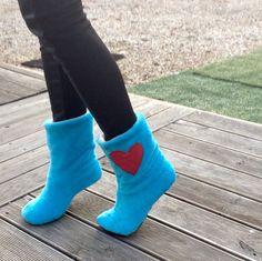 chaussons d'interieur en polaire douce bleue : Chaussures par bliss