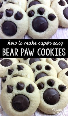 {okay these are so cute!} Bear Paw Cookies recipe | fun treat for kids #cookies #chocolate #kidfood